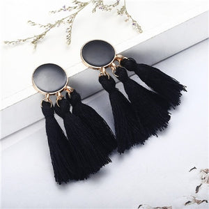 Bohemia Tassel Earrings Gold Color Round Drop Earrings for Women