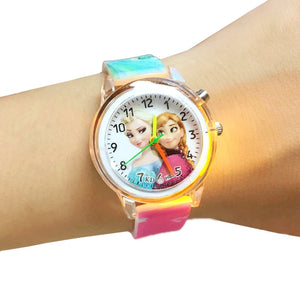 Princess Elsa Children Watches Electronic Colorful Light Source Child Watch Girls