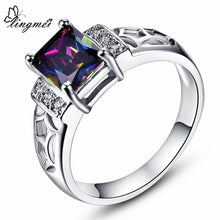 Pink/Red/Blue/Rainbow/Multi-color CZ White Gold Color Ring