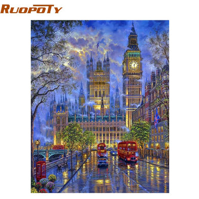 RUOPOTY Frame City Night DIY Painting By Numbers Modern Home Wall Art Acrylic Paint On Canvas Hand Painted Oil Painting 40x50cm