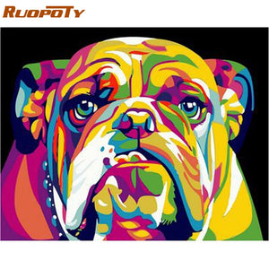 RUOPOTY Frame Picture Dog Animals DIY Painting By Numbers Kits Hand painted Oil Painting Modern Wall Art Picture For Home Decor