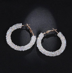 RscvonM Brand New Design Fashion Charm Austrian crystal hoop earrings Geometric Round Shiny rhinestone big earring jewelry women