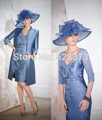 Elegant Party Dress V Neck Half Sleeves Mother of the Bride/Groom Dresses Outfits Suit with Jacket Coat Formal Gowns