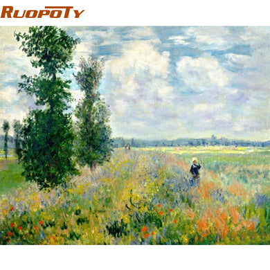 RUOPOTY Frame Picture Field Landscape DIY Painting By Numbers Hand painted Oil Painting Modern Wall Art Picture For Home Decors