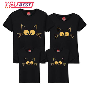 Summer Matching Mother Daughter Clothes Matching Cute Cat Print Family Look Family Matching Parent-child Outfit Mommy T-shirts