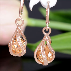 New Fashion Women/Girl's Gold Color white/pink/purple/green CZ Dangle Earrings Jewelry