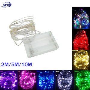 LED String lights 10M 5M 2M Silver Wire Fairy light Christmas Wedding Party Decoration Powered by Battery USB led Strip lamp