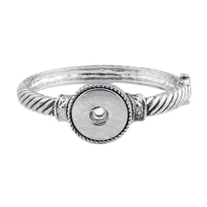 Snap Jewelry Metal Snap Bracelet Bangle Rhinestone Silver Bracelet Fit 18mm 20mm Snap Button Jewelry For Women