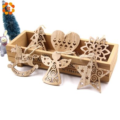 6 pc Hollow Christmas Snowflakes Wooden Ornaments for Xmas