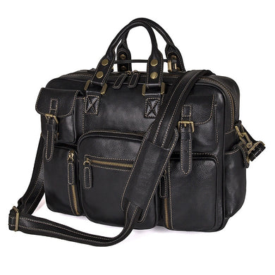 High Quality Large Capacity Black Genuine Leather Men's Travel Bag