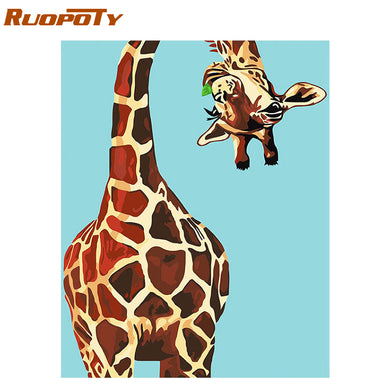 RUOPOTY Frame Abstract Giraffe DIY Painting By Numbers Animals Modern Wall Art Picture Unique Gift For Home Decors Artwork 40x50