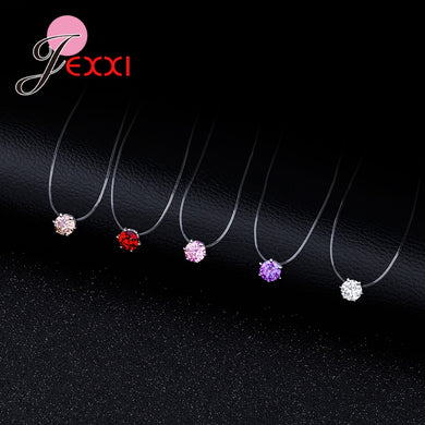 Rope Pendant Necklace 8 Colors Clear CZ 925 Sterling Silver