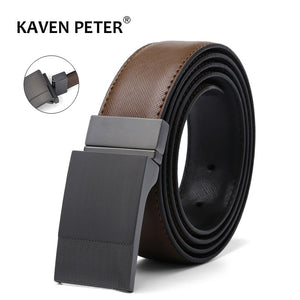 Men's Genuine Leather Plate Reversible Buckle Belt