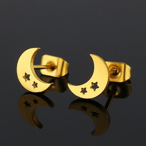 Jisensp Cute Stainless Steel Stud Earrings for Women Everyday Jewelry Gift Tiny Star Moon Earrings pendientes mujer moda 2018