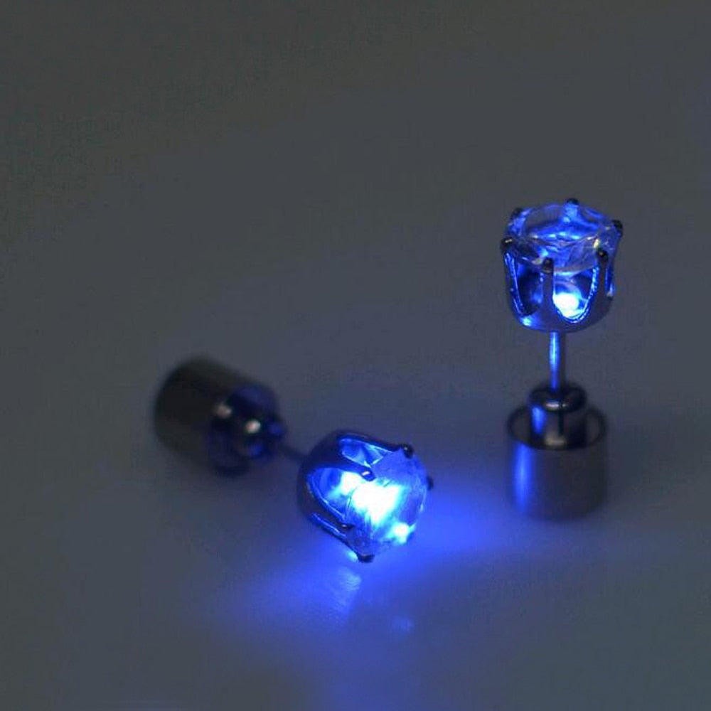 1 pc The Charm of the LEDs Light Glowing Crystal Stainless Ear Drops
