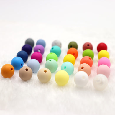 10 pcs Silicone Teething Beads Round 15mm For Necklace Chews Pacifier