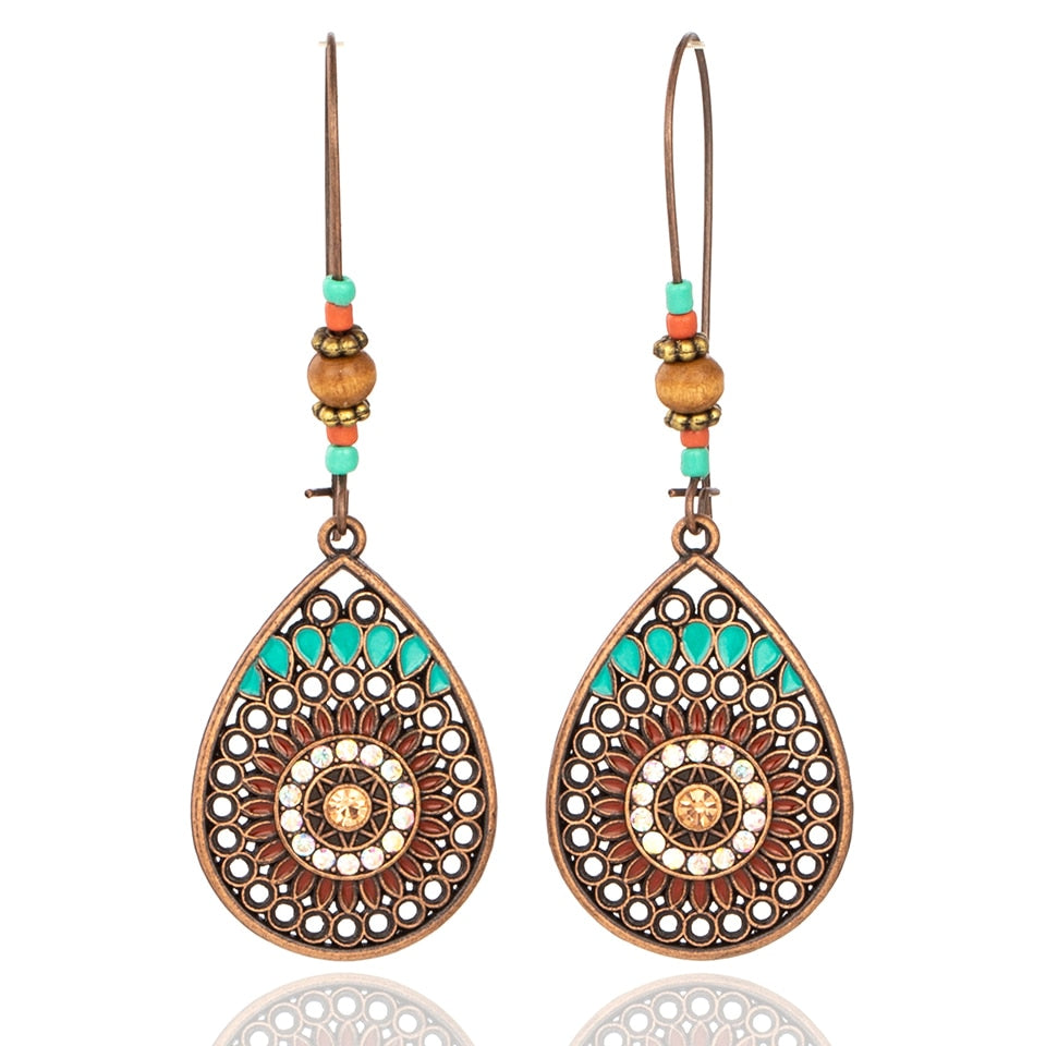 Vintage Boho India Ethnic Water Drip Hanging Dangle Drop Earrings for Women Female 2018 New Wedding Party Jewelry