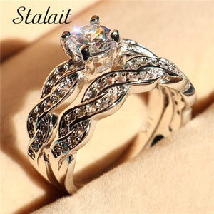 Luxury Shiny AAA Zircon Ring Set for Women Fashion Winding Engagement Wedding Rings Set Jewelry Gift Aneis Feminino US Size 5-12
