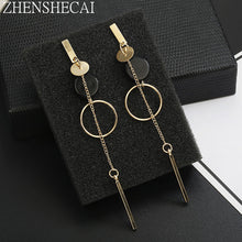New Fashion Circle Dangle Earrings Metal long Pendientes round earrings for women