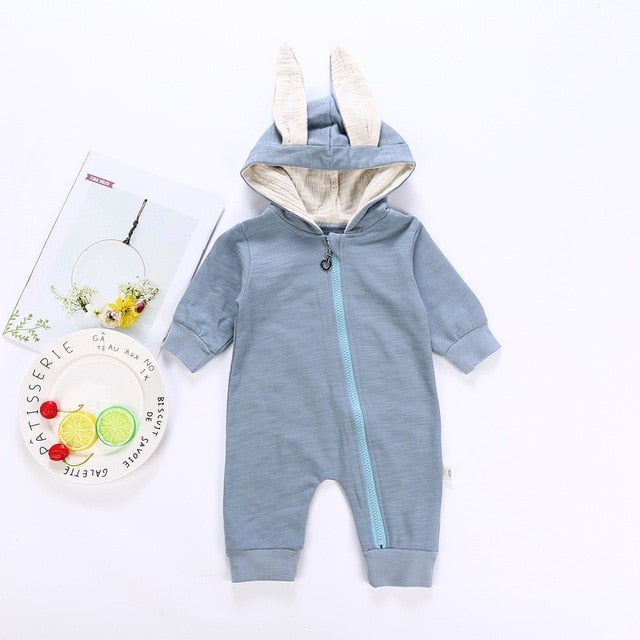 Bear Leader Rompers 2018 Newborn 3D Cartoon Hooded Costume Rompers Warm Spring Autumn Cotton Romper Playsuit Clothes 0-24M