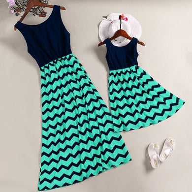 Wavy Striped Mother/Daughter Dresses Sleeveless Mini O-Neck