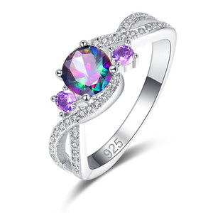 Round Multi-color/Purple/Green/Pink/White CZ Silver Color Ring