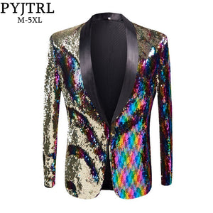 e2651878f398 PYJTRL New Mens Stylish Gold Colorized Double-Color Sequins Blazer Nightclub  Bar Stage Singer Costume