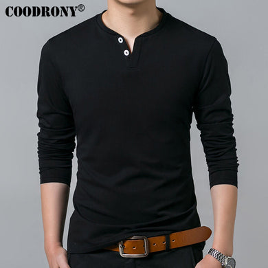 T-Shirt Men's Long Sleeve Henry Collar Pure Cotton Slim Fit