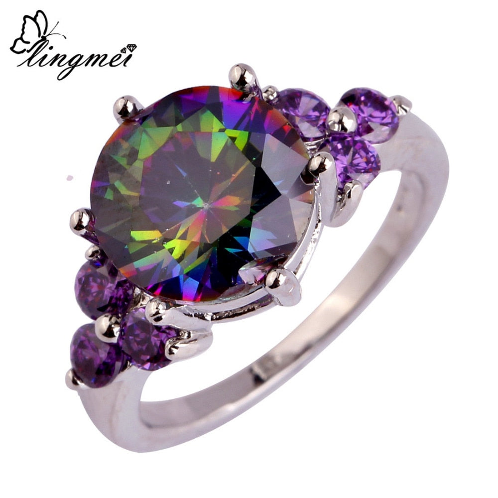 Mysterious Rainbow CZ & Purple Silver Ring