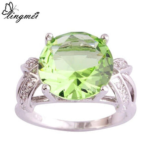 Green/Pink/Tourmaline/White CZ Silver Ring