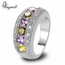 Peridot Purple/White CZ Silver Ring