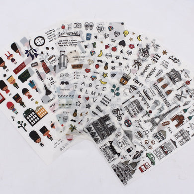 European style Travel diary Paper Stickers