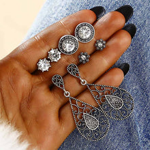 4 Pairs/Set Antique Silver Color Stud Earrings Set Bohemian Vintage Moon Sun Earrings For Women