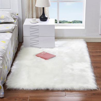 Luxury Rectangle Square Soft Artificial Wool Sheepskin Fluffy Area Rug White Fur Carpet Shaggy Long Hair Solid Mat Home Decor