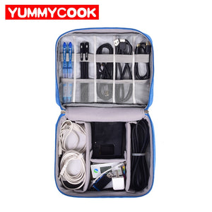 Travel Cable Bag Portable Digital USB Gadget Organizer Charger Wires Cosmetic Zipper Storage Pouch kit Case Accessories Supplies