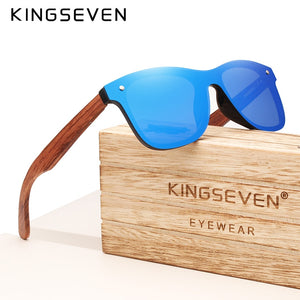 Wooden Vintage Sunglasses Polarized Flat Lens Rimless Square
