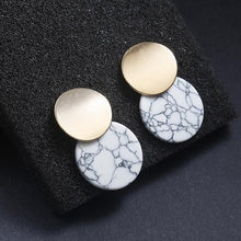 Unique Black Trendy Double Round Drop Earrings With Natural Stones Metal Statement Earrings for Women