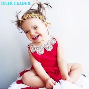 Bear Leader Baby Rompers 2018 New Summer Style Cotton Pearl Collar Red Baby Girls Clothing Set  60- 95cm Party Kids Jumpsuit