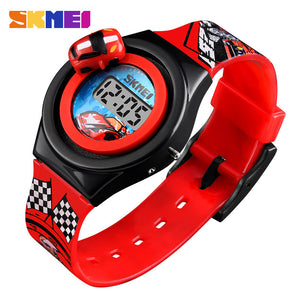 SKMEI Cartoon Car Children's Watch Fashion Digital Electronic Children Watch Creative Cartoon