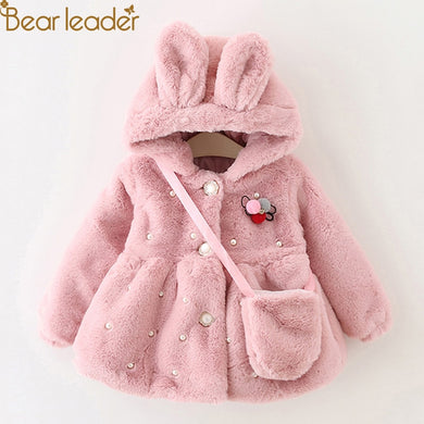 Bear Leader Outwear Coats Clothes Winter New With Bag Thickening Baby  Cotton Coat Cute Rabbit Ears Hooded Children Winter Coat