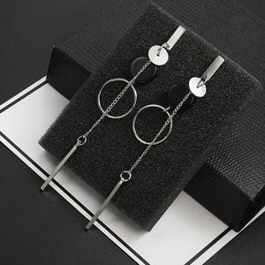 Fashion Earrings Flower Geometric Long Asymmetry Circle Ear Acrylic Big Dangling Earrings
