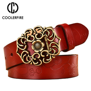 Ladies Leather Belt Wide Genuine Leather Top Quality