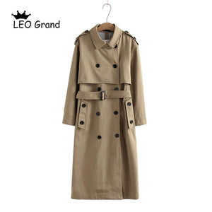 Women's Casual Solid Color Double Breasted Coat Long Trench