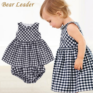 Bear Leader Baby Girls Dress 2018 New Casual Plaid Sleeveless Turn-down Collar Princess Dress + Plaid shorts 2pcs Clothing Sets