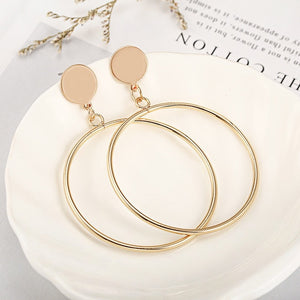 Exaggeration metal Large Vintage Earrings for Women Golden 2019 Geometric circular Earrings Fashion Jewelry