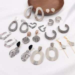 New Irregular Geometric Round Grey Acrylic Statement Long Drop Earrings Resin Earrings for Women