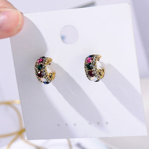 Vintage Colorful Rhinestone Small Hoop Earrings Women Fashion Simulated Pearl Semicircle Pendientes