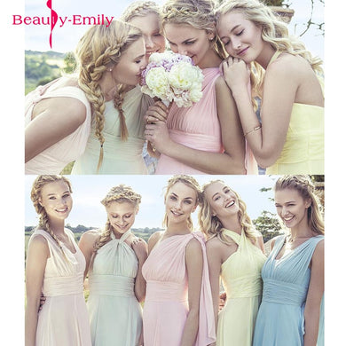 Elegant Long Chiffon A-Line Bridesmaid Dresses