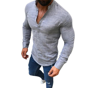 2019 Sexy Men Long Sleeves V Neck Blouse Summer Fashion Casual Cool Clothing Slim Fit Tees Tops Male Breathable Linen Shirts