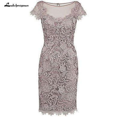Sheath Lace Mother Of The Bride Dress with Cap Sleeves